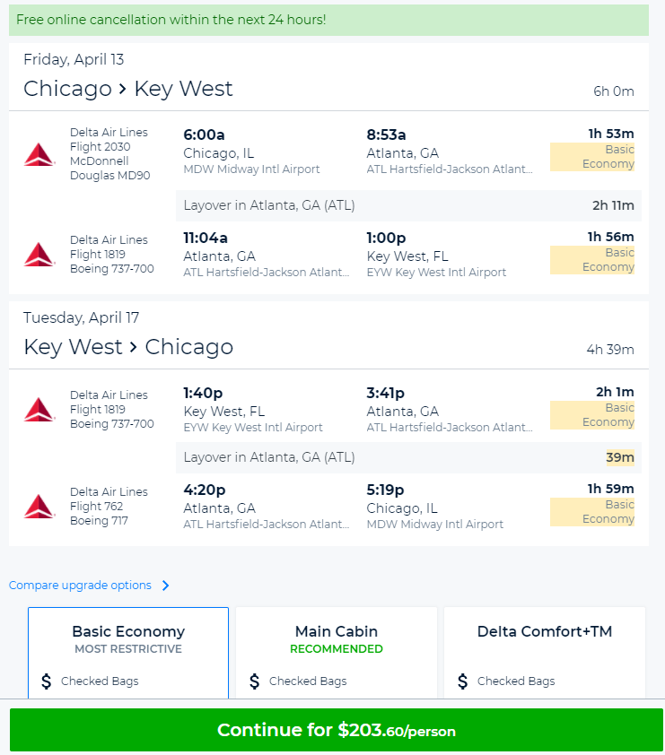 key west flights from chicago