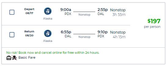 Nonstop Flights Portland To From Dallas 197 R T Alaska