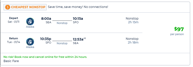 Nonstop Flights Seattle To From San Francisco San Jose